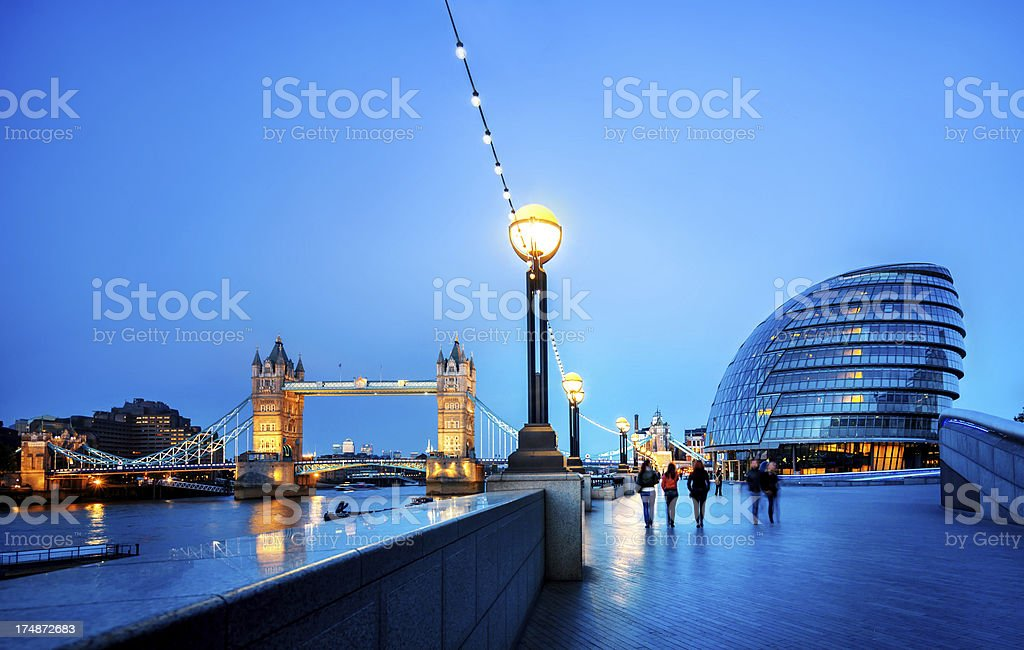 Tower bridge and city hall in London stock photo