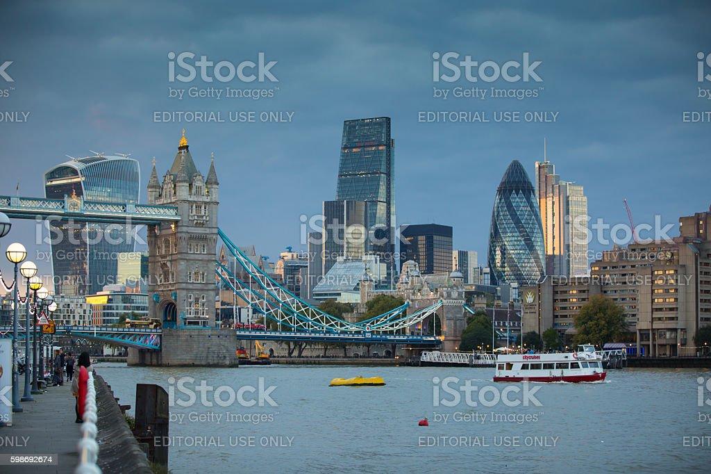Tower Bridge and City of London at sunset. London stock photo