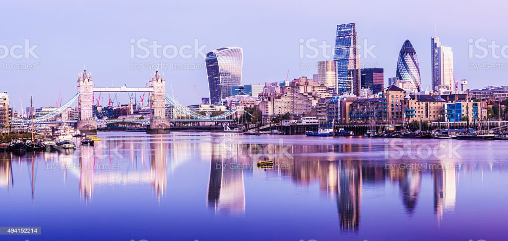 Tower Bridge and Downtown City Skyline at Twilight London stock photo
