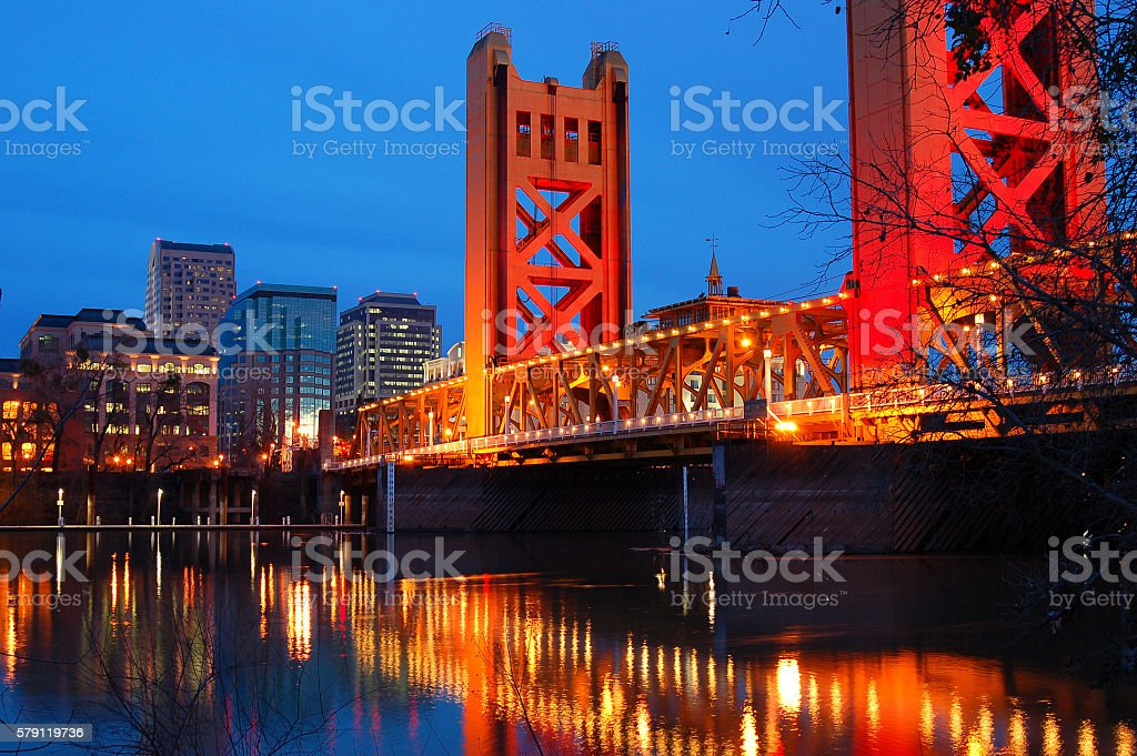 Tower Bridge and Downtown Sacramento stock photo