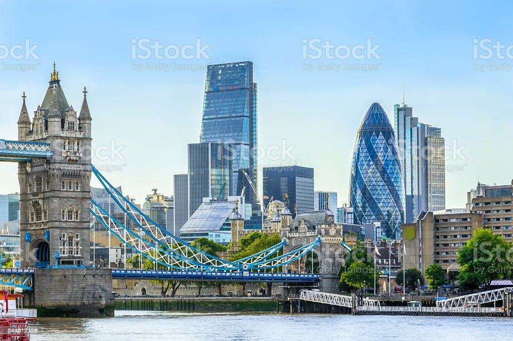 Tower  Bridge and Financial District of London stock photo