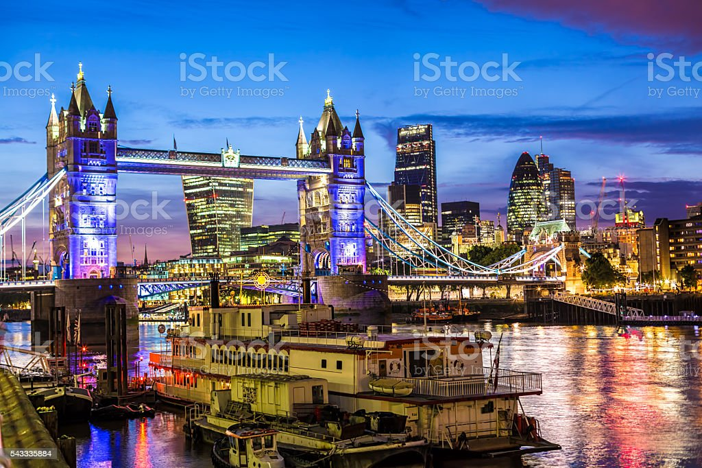 Tower Bridge and London City stock photo