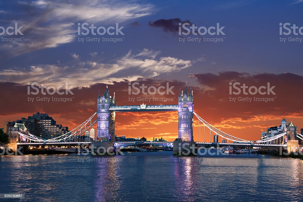 Tower Bridge and River Thames at sunset, London, United Kingdom. stock photo