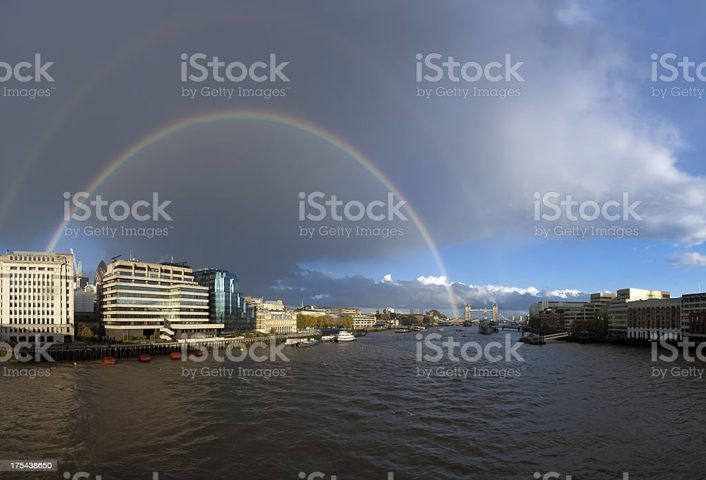 Tower Bridge and River Thamse with rainbow royalty-free stock photo