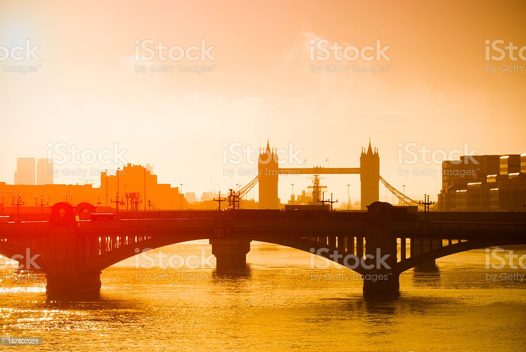 Tower Bridge and Southwark, London, early morning sunrise royalty-free stock photo