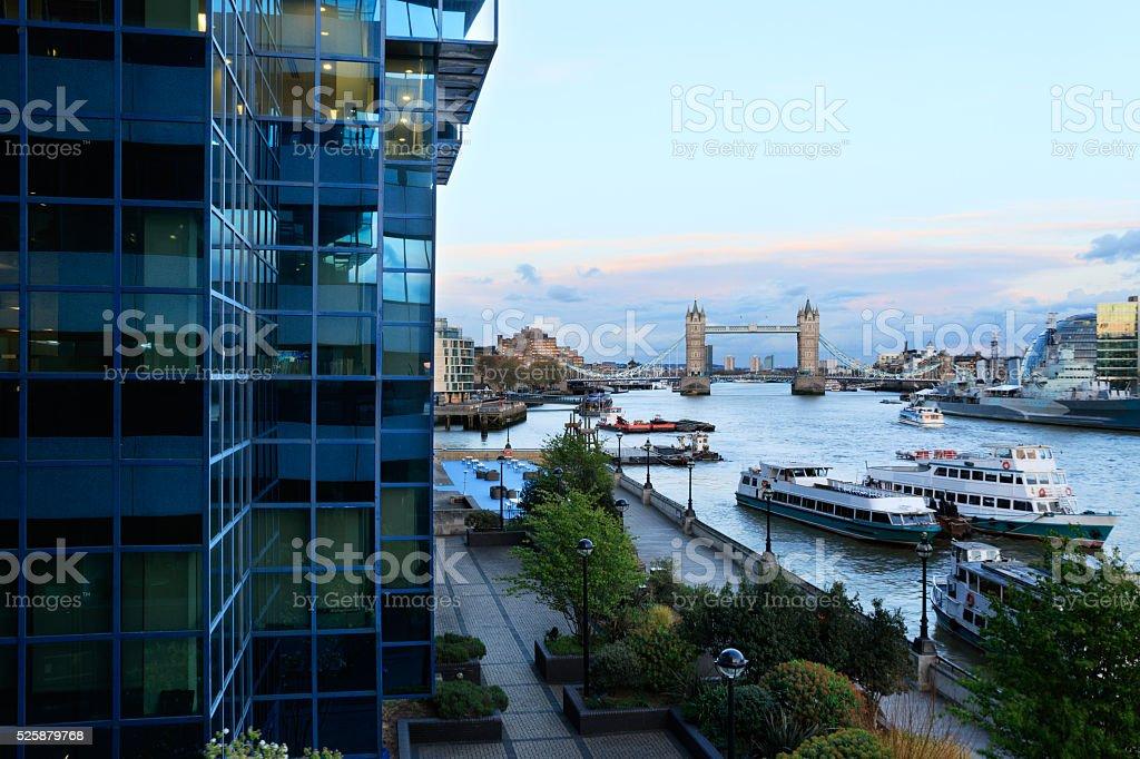 Tower Bridge and Thames stock photo