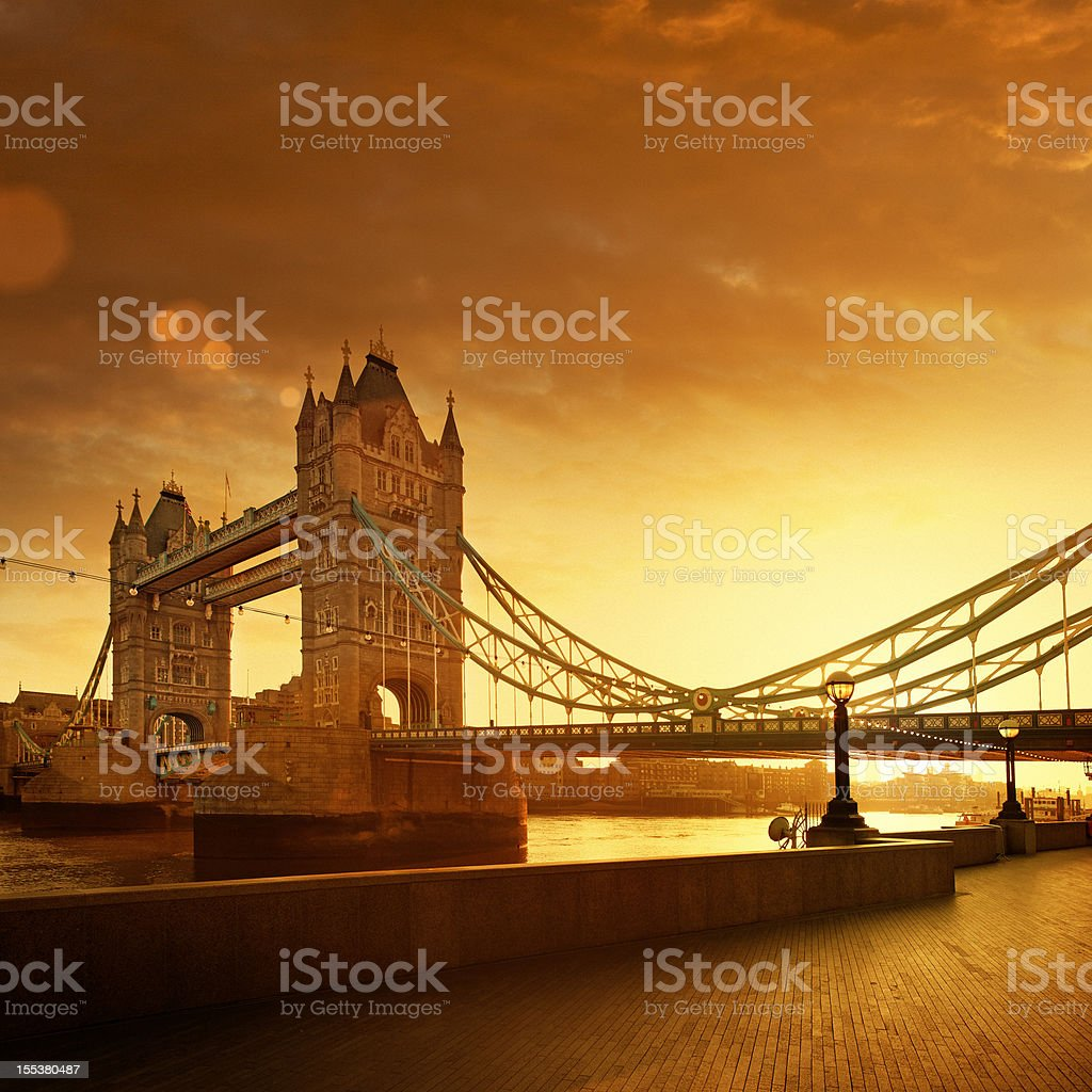 Tower Bridge and Thames river at dawn royalty-free stock photo