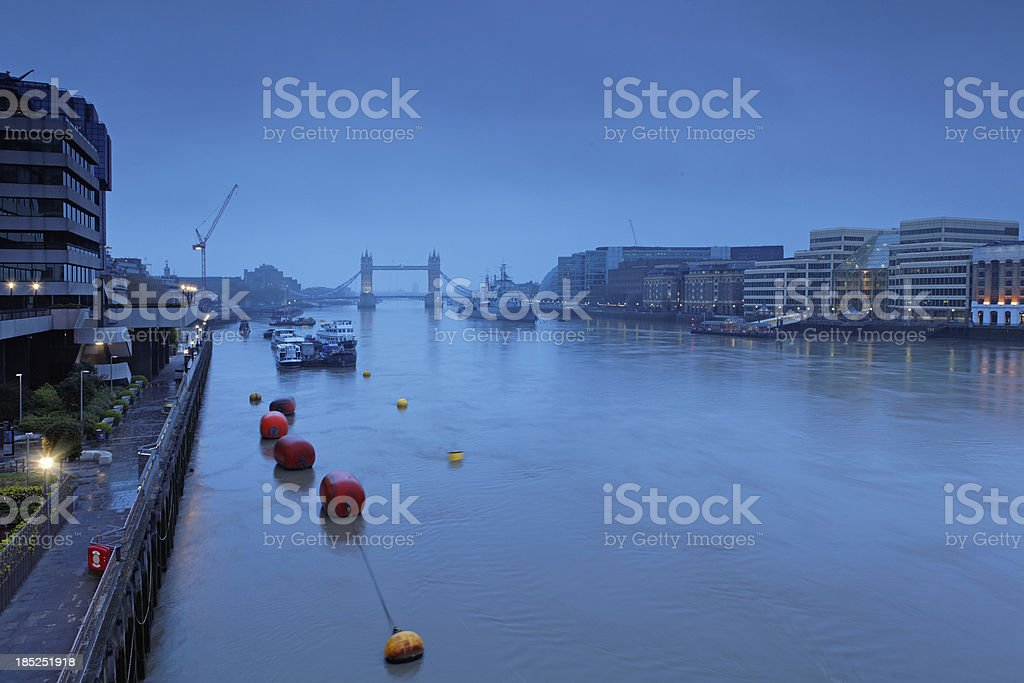 Tower Bridge and Thames River in London royalty-free stock photo