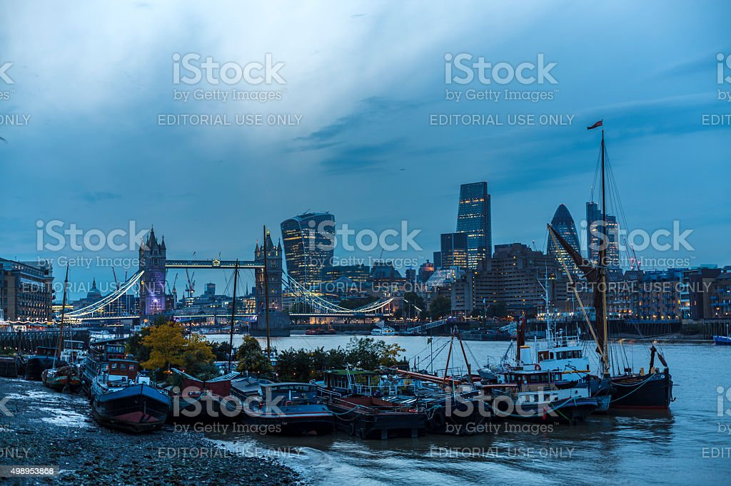 Tower Bridge and the City of London stock photo
