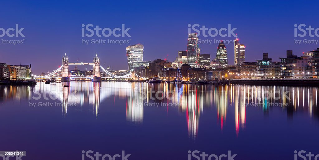 Tower Bridge and the downtown city skyline at twilight London, stock photo