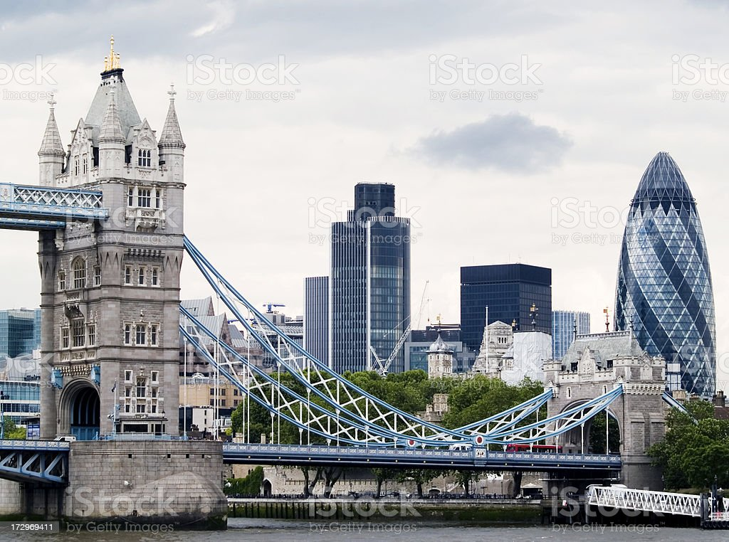 Tower Bridge and the Gherkin royalty-free stock photo