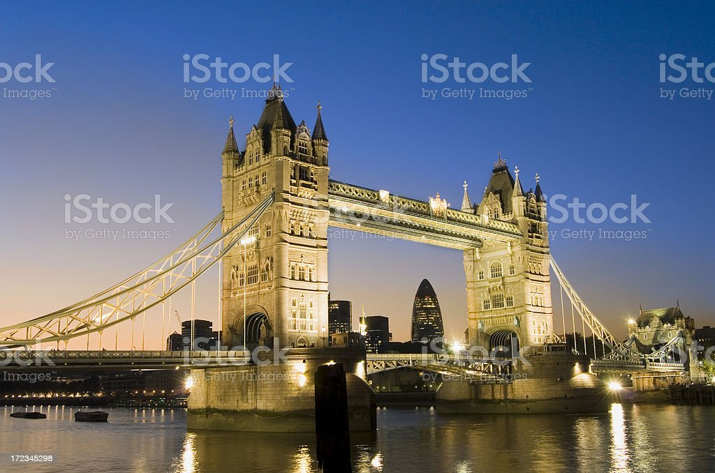 Tower Bridge and the London City Skyline at Night UK royalty-free stock photo