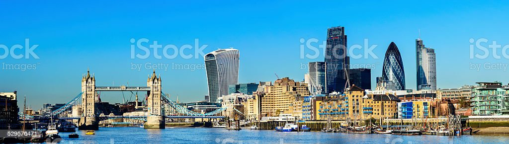 Tower Bridge and the London City Skyline in the UK stock photo