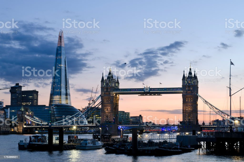 Tower Bridge and The Shard Skyscraper, London royalty-free stock photo