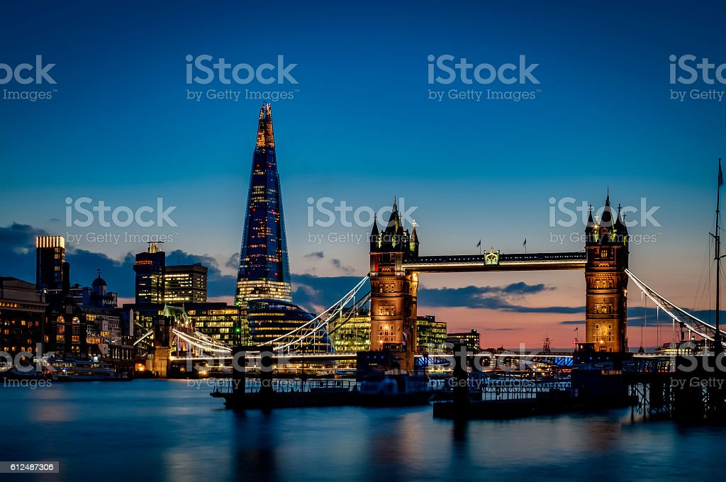 Tower bridge and the sky London skyline at night stock photo