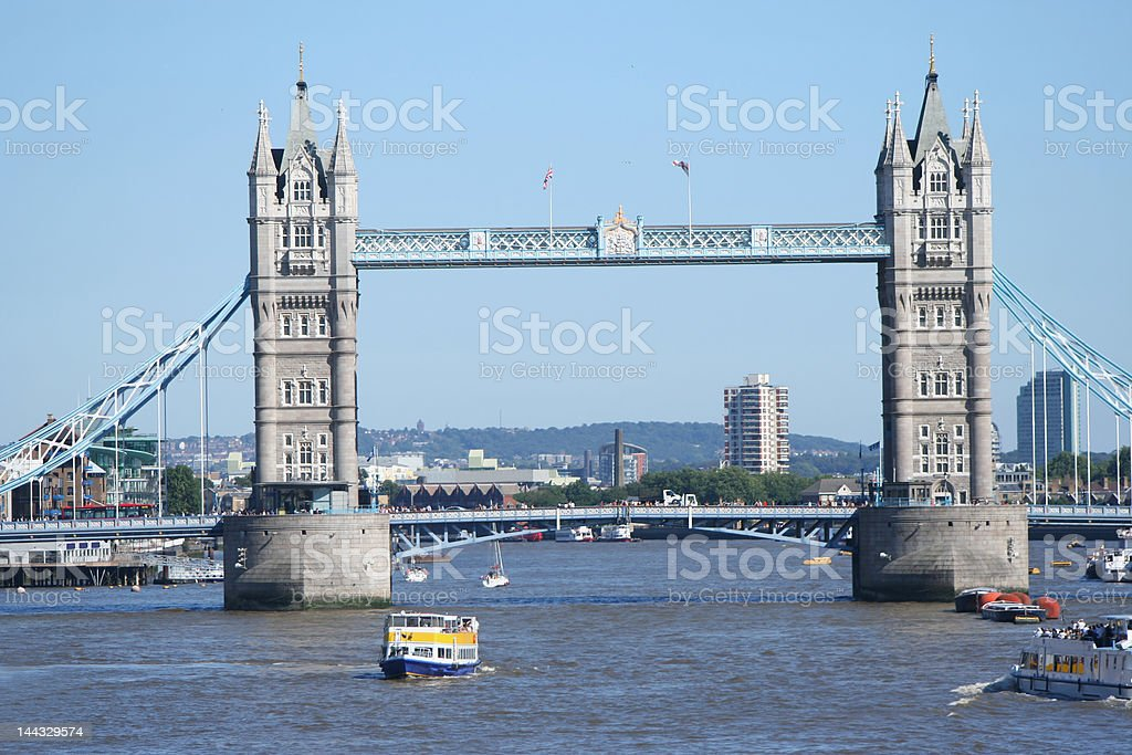 Tower bridge and tourist boats royalty-free stock photo