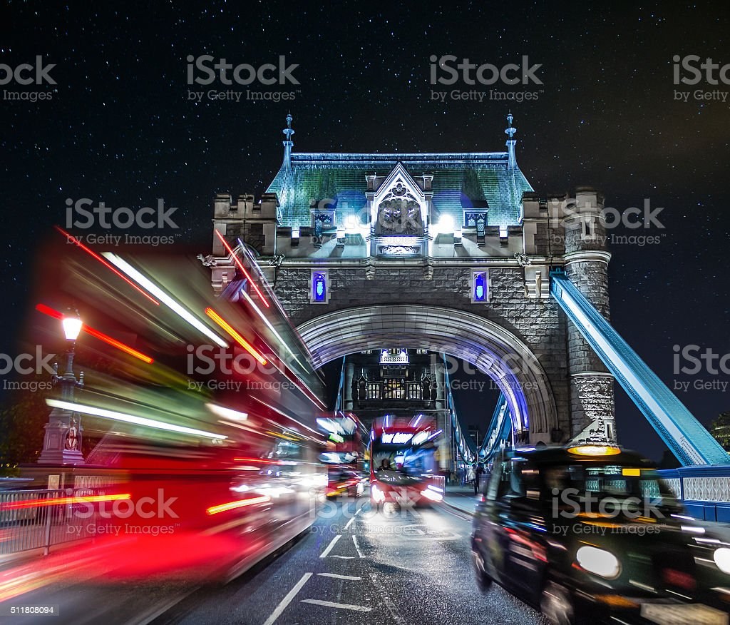 Tower Bridge and Traffic Color Mix stock photo