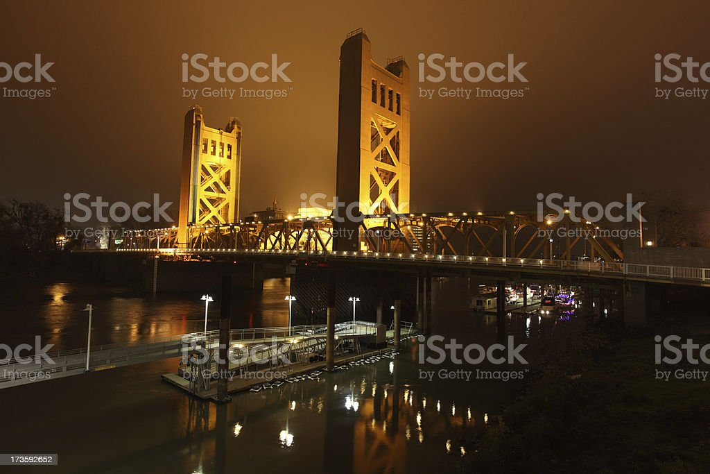 Tower Bridge at night on a New Year's Eve in Sacramento royalty-free stock photo