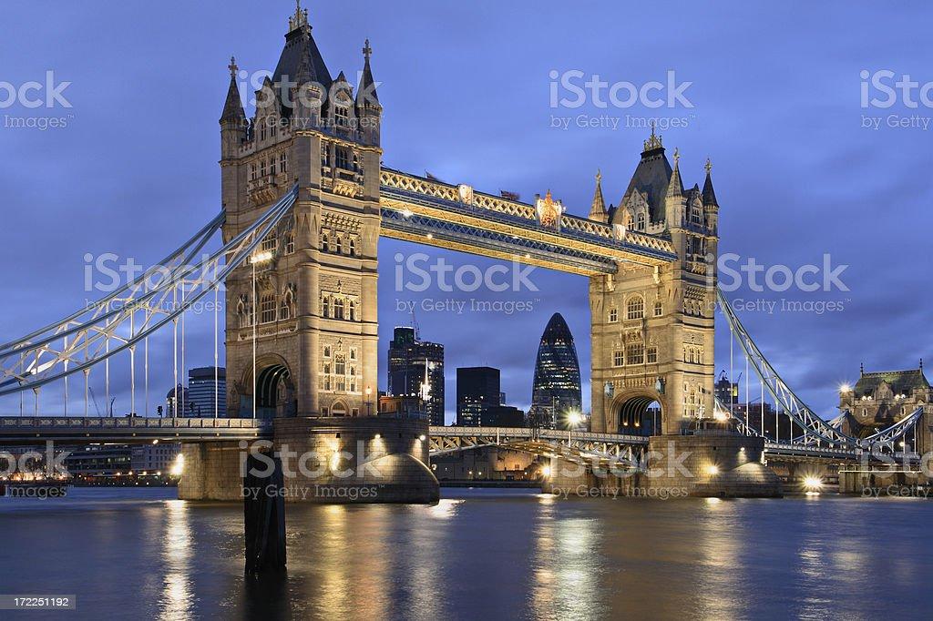 Tower Bridge at night royalty-free stock photo