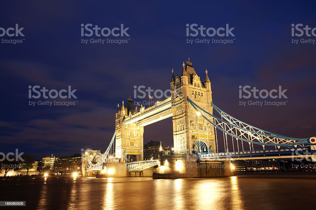 Tower Bridge at night royalty-free stock photo