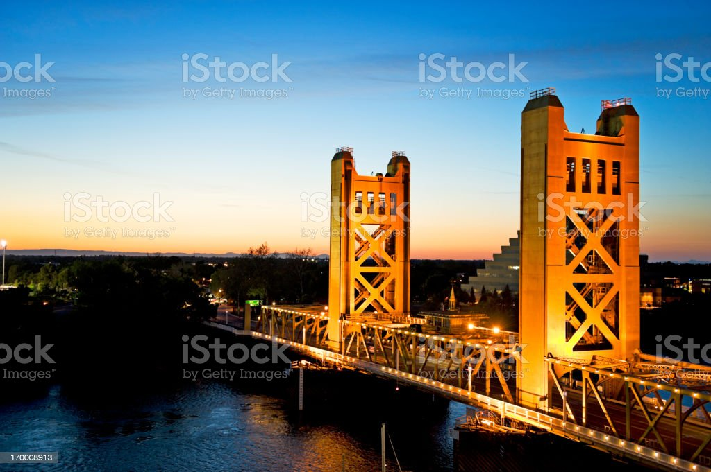 Tower Bridge at sunset in Sacramento, California stock photo