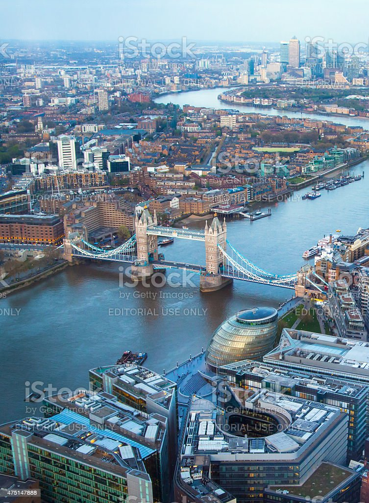 Tower bridge at sunset light. London stock photo