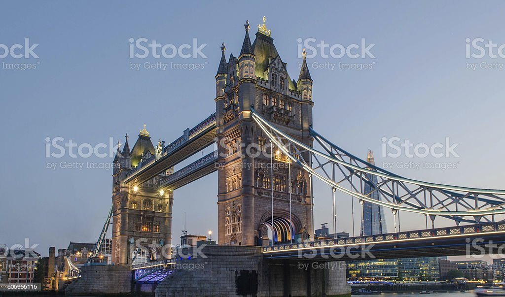 Tower Bridge at sunset stock photo