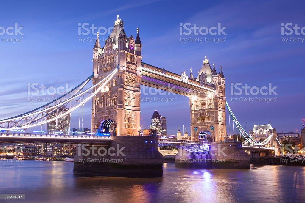 Tower Bridge at sunset sunrise night twilight London, England, UK royalty-free stock photo