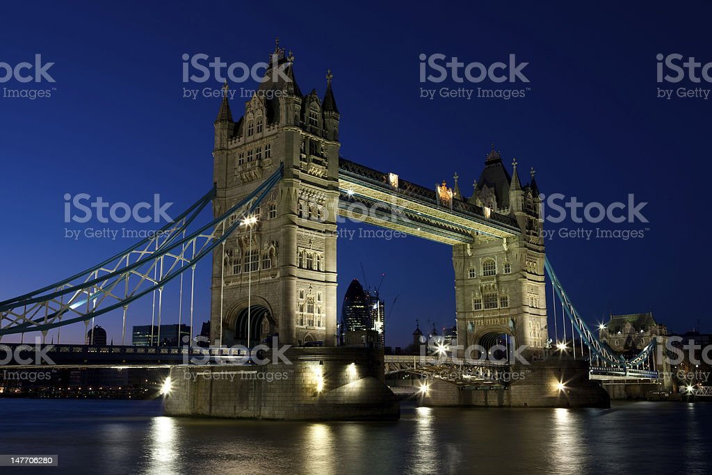 Tower Bridge at sunset with beautiful clear blue skies royalty-free stock photo
