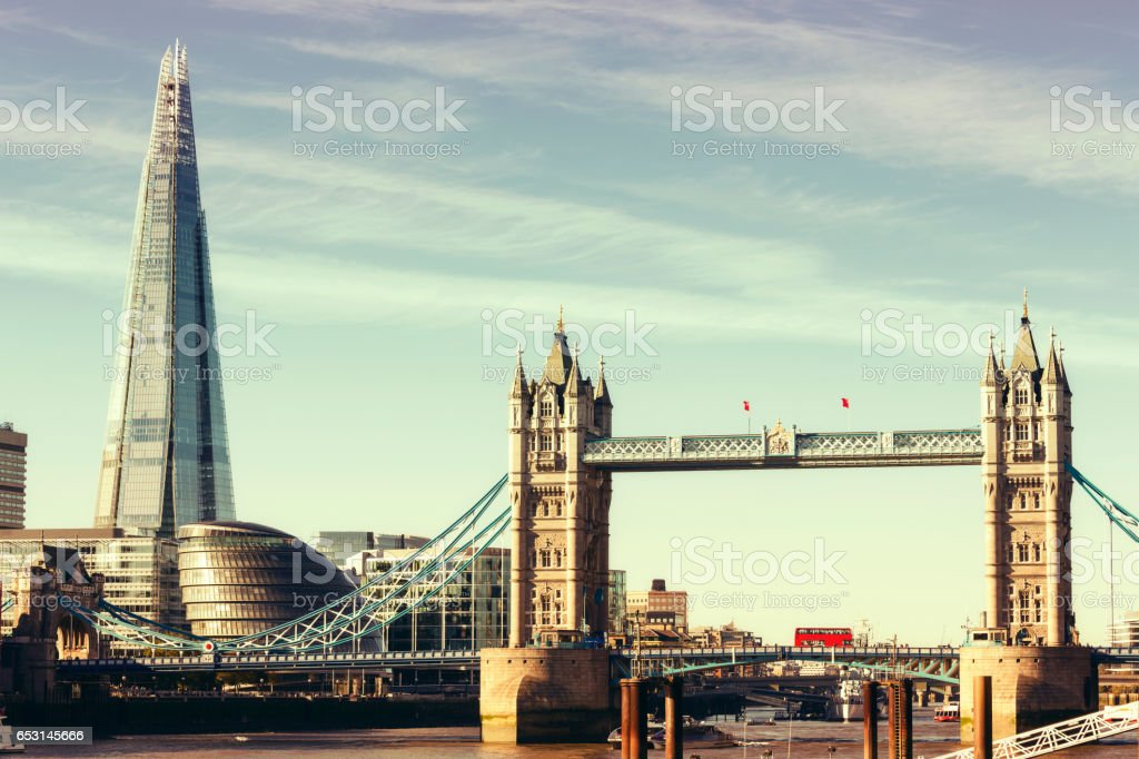 Tower Bridge, City Hall and the Shard in London stock photo