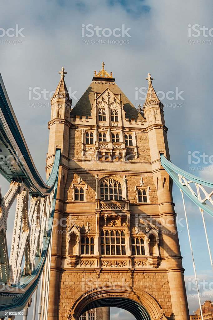 Tower bridge close up of tower in central London, England stock photo