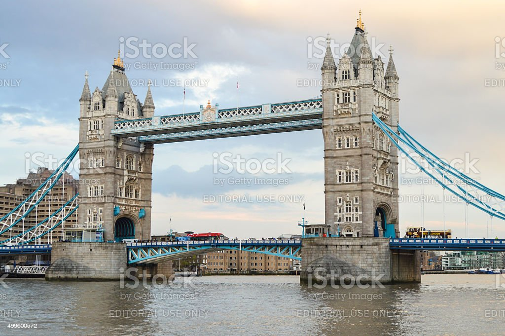 Tower Bridge during sunset - London, UK stock photo