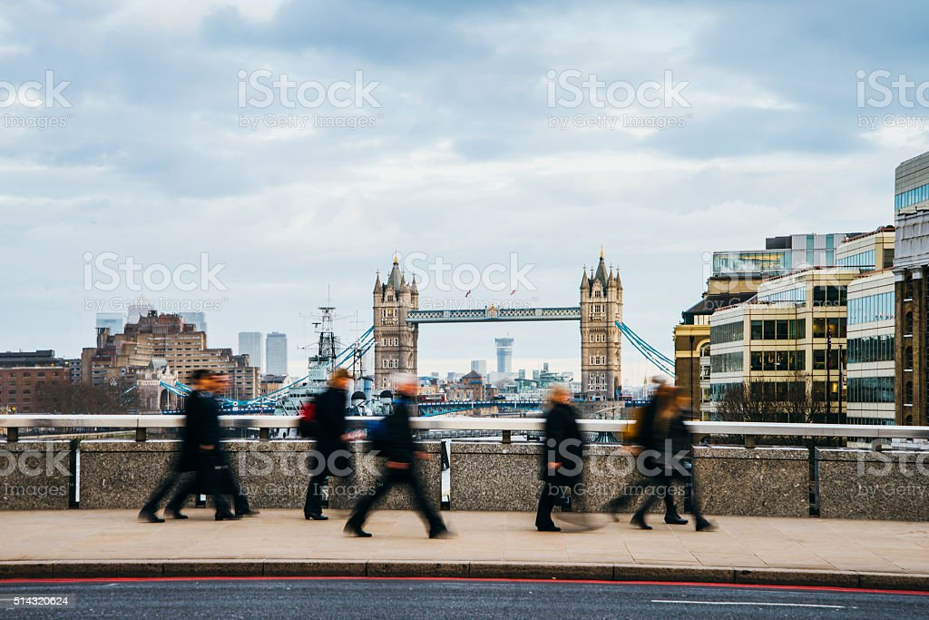Tower Bridge from London Bridge stock photo