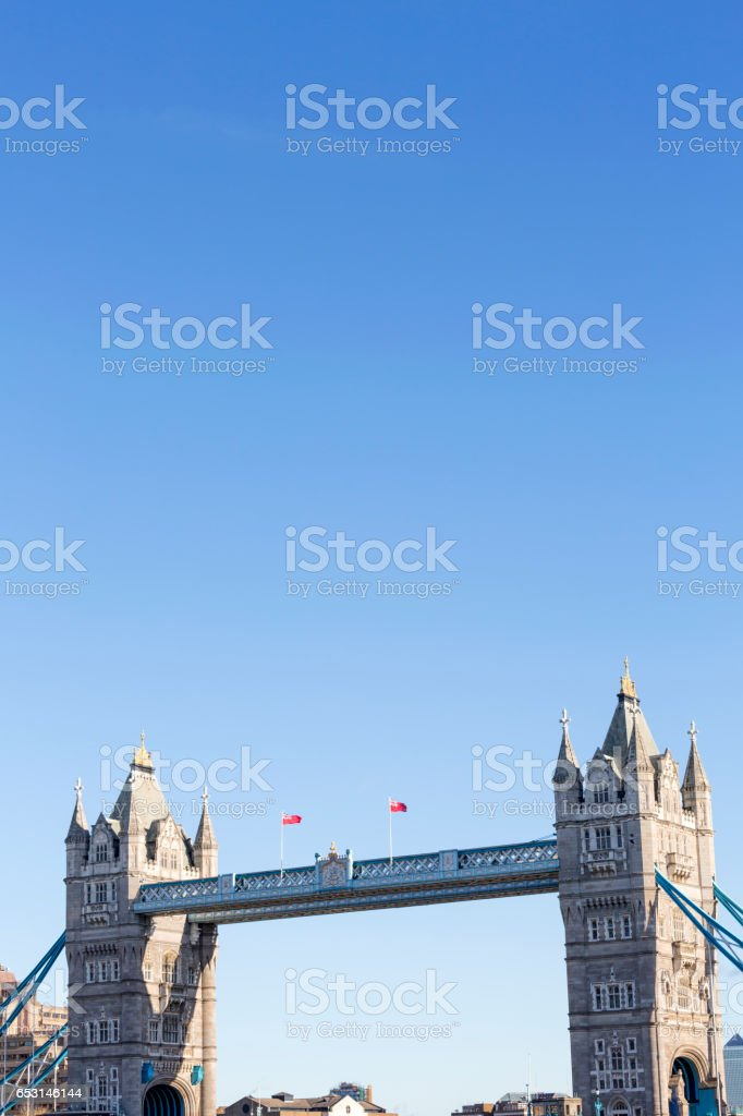 Tower Bridge in London against a blue sky stock photo