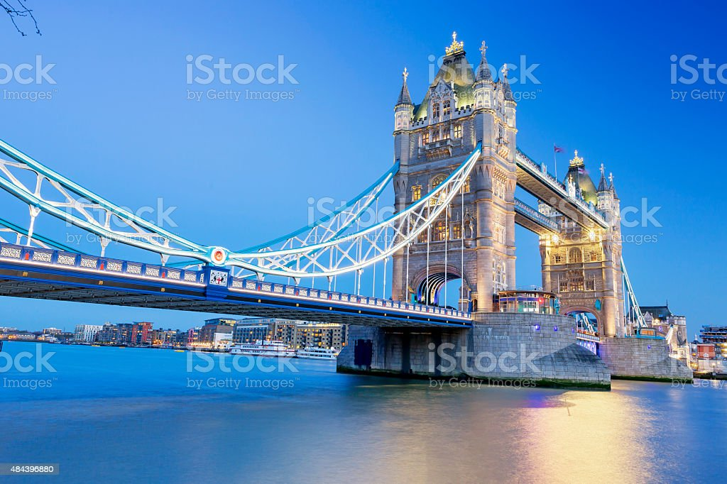 Tower Bridge in London at dusk stock photo