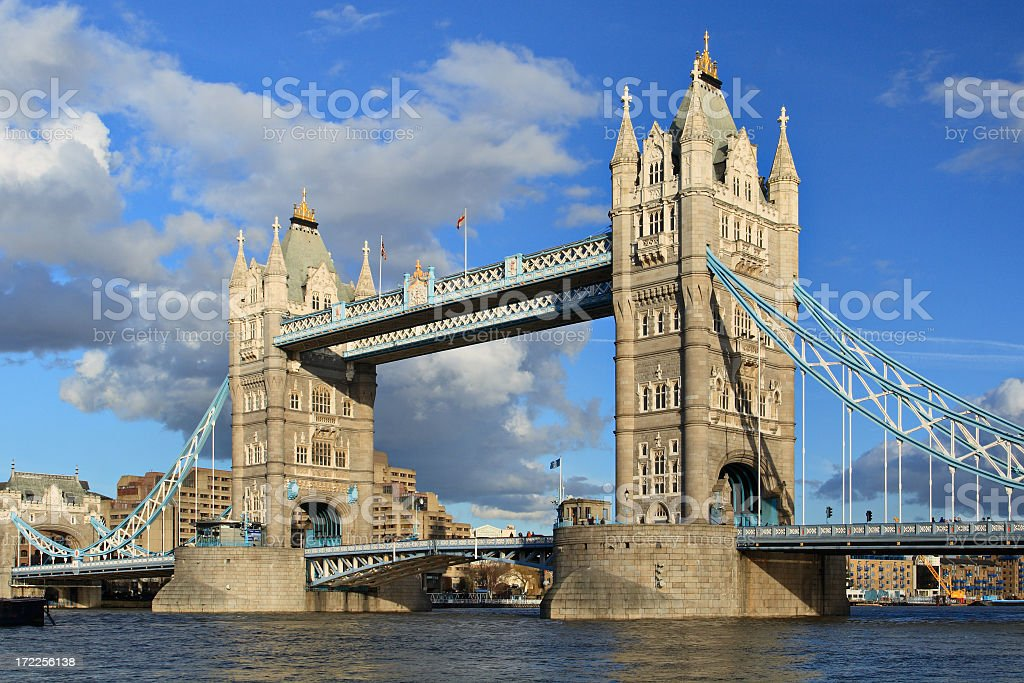 Tower bridge in London during the day stock photo