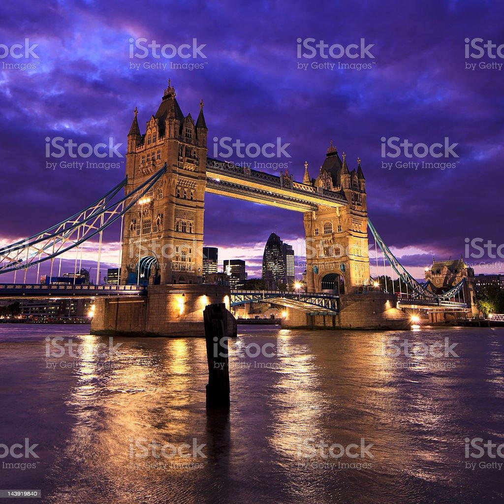 Tower Bridge in London, UK during sunset royalty-free stock photo