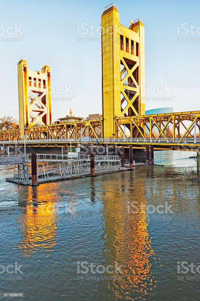 Tower Bridge in Morning Old Town Sacramento stock photo