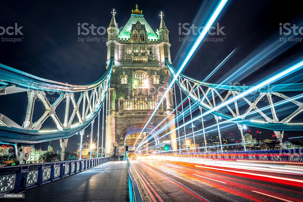 Tower Bridge Light Trail stock photo