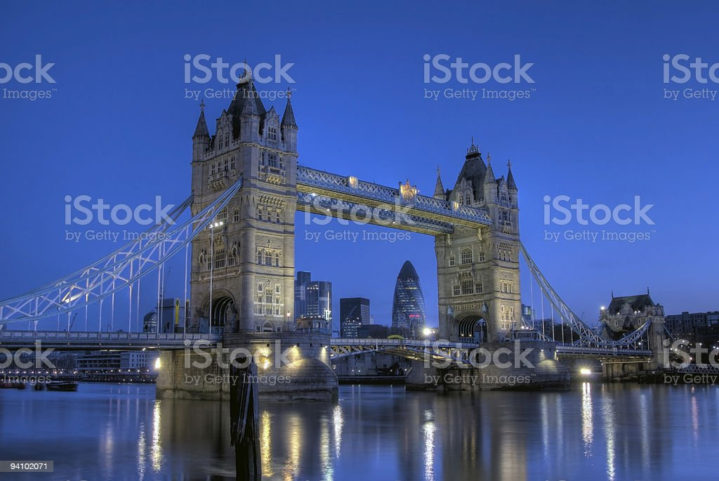 Tower Bridge, London, at dawn, copy space - HDR royalty-free stock photo
