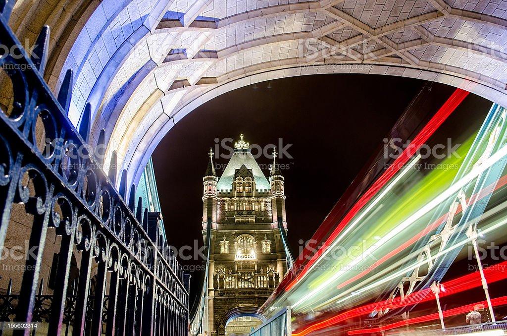 Tower Bridge London at night with long exposure royalty-free stock photo