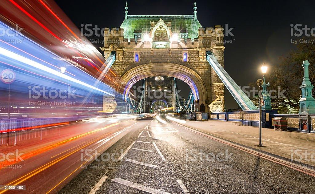 Tower Bridge, London, by night stock photo