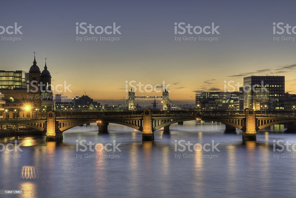 Tower Bridge, London, early morning sunrise HDR - copy space royalty-free stock photo