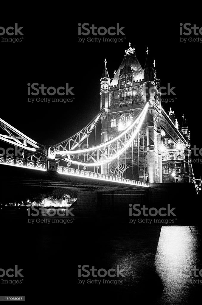 Tower Bridge monochrome vintage stock photo