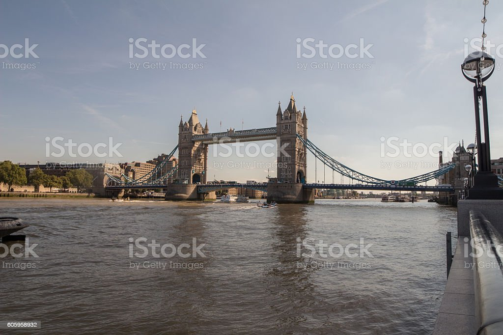 Tower Bridge on a clear sunny day stock photo