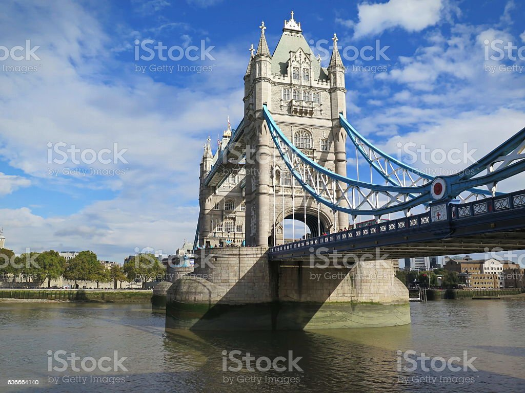 Tower Bridge on River Thames London stock photo