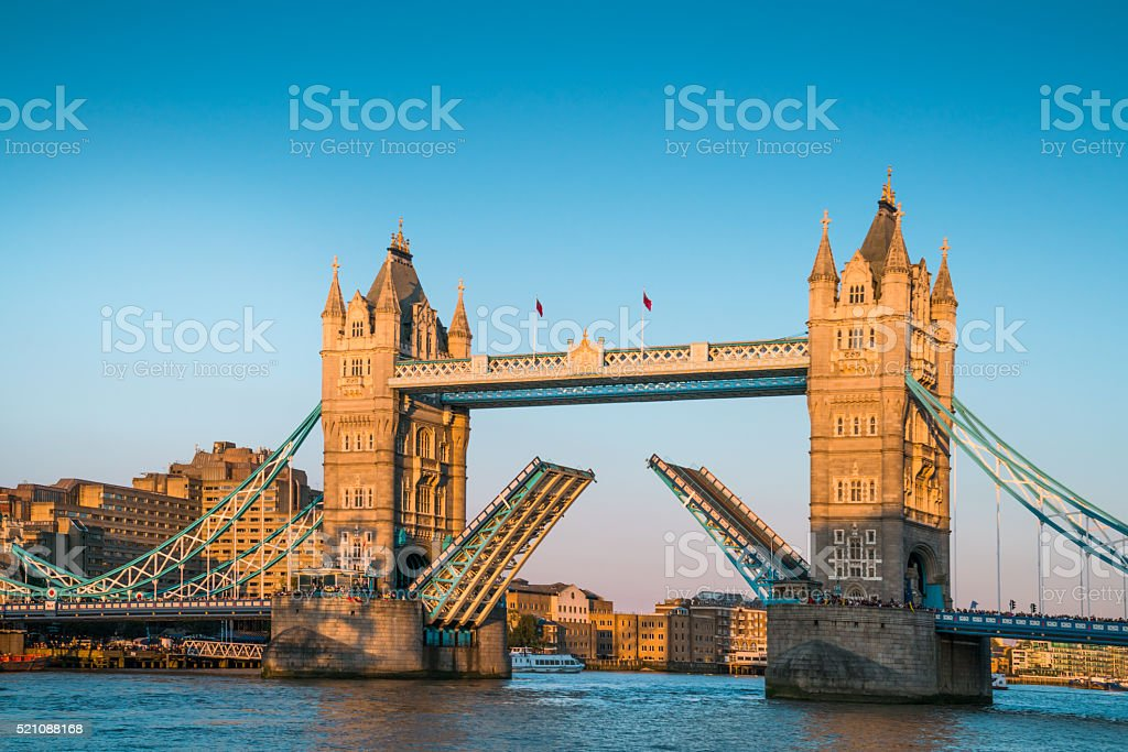 Tower Bridge 'open' over the River Thames in London, UK stock photo