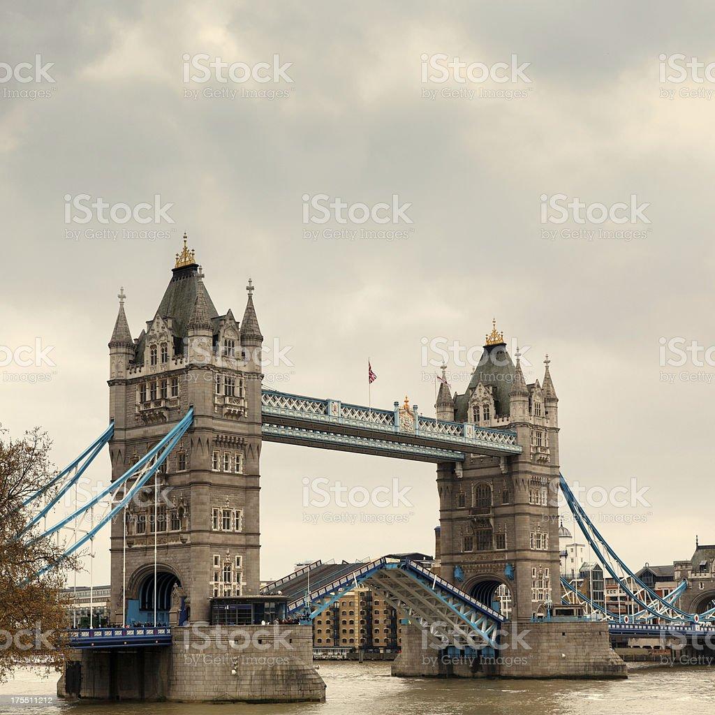Tower Bridge opening in London royalty-free stock photo