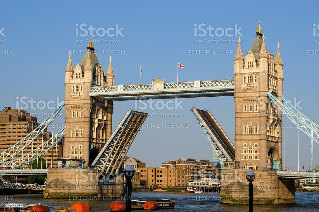 Tower Bridge opening, London, UK stock photo
