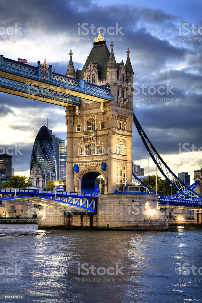 Tower Bridge over Thames River, London royalty-free stock photo